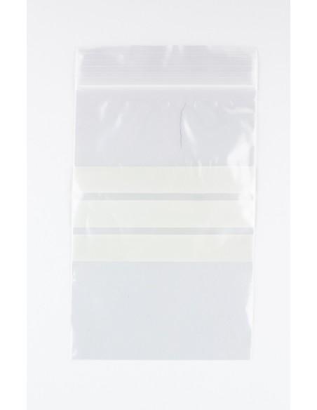 100 Bolsas de pl/ástico de 10 x 15 cm Disponible en paq de 100 y 1.000 uds Auto-Cierre Zip con Zona de Escritura aptas para Alimentos. Autocierre Bandas 10x15 3 Bandas Blancas para Escribir